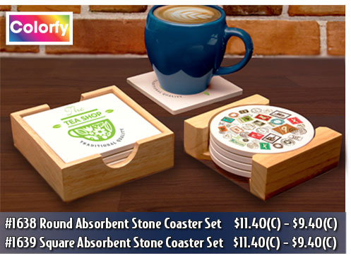Illini Absorbent Stone Coaster Sets