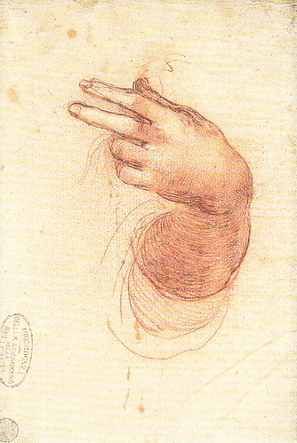 受胎告知の天使のための左手と胸の研究