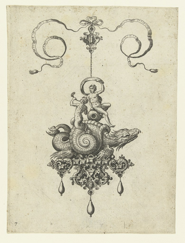 Pendant with cochlear - Adriaen Collaert and Hans Collaert (I) attributed as printmakers, published by Philips Galle, 1582