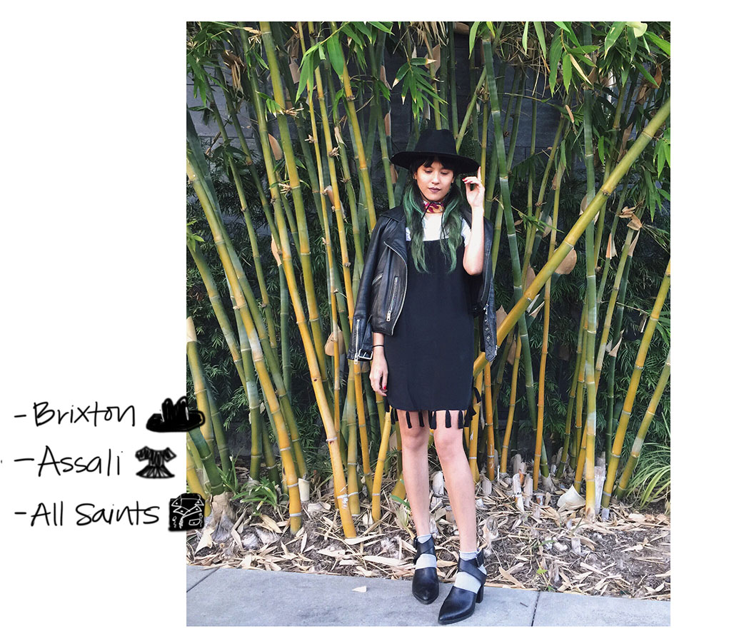 Assali dress, All Saints Balfern moto jacket, Brixton hat