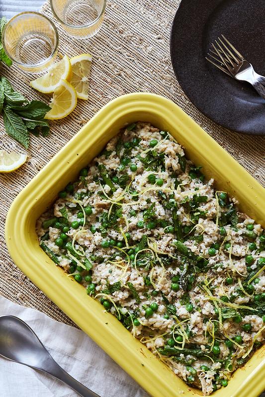 Spring Cauliflower Rice Risotto Bake with Chicken
