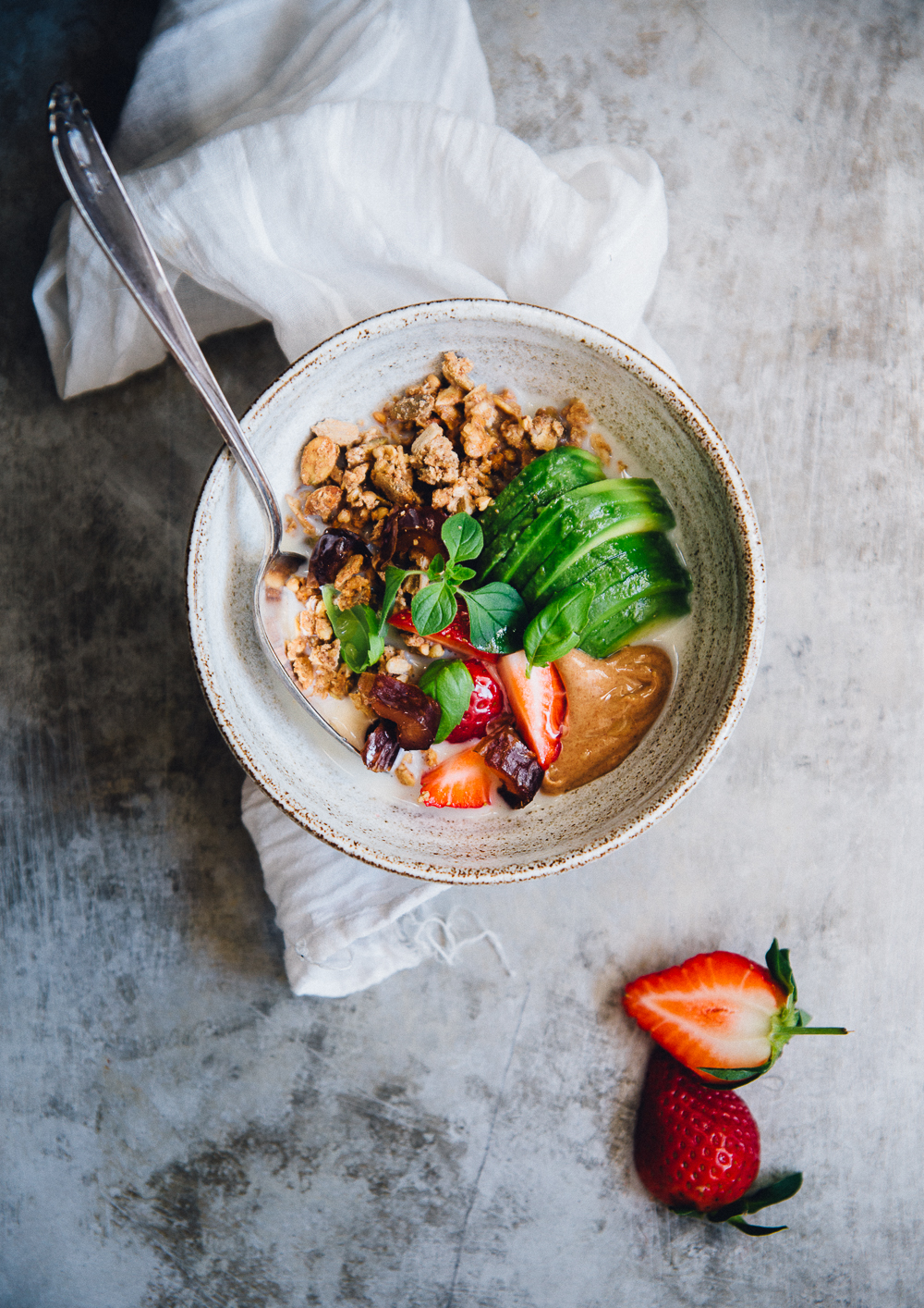 Olive Oil & Buckwheat Crisp Granola with Avocado, Nut Butter & Strawberries | Cashew Kitchen