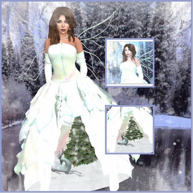 This BMe gown features a Christmas winter 3D scene in the skirt, wings, and armwarmer sleeves.