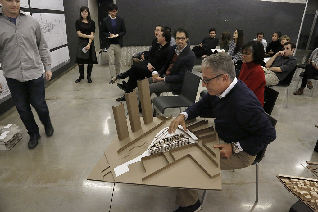 Third-year M.Arch. reviews in Milstein Hall dome.