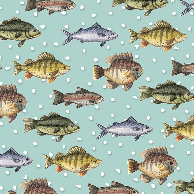 #robayrepatterns This is what happens when you have a whole day to devote to your #patternjanuary. I painted the fish in watercolors and the background was digital. I'm kinda in love with it.