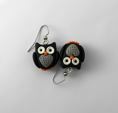 Owl Earrings - Black