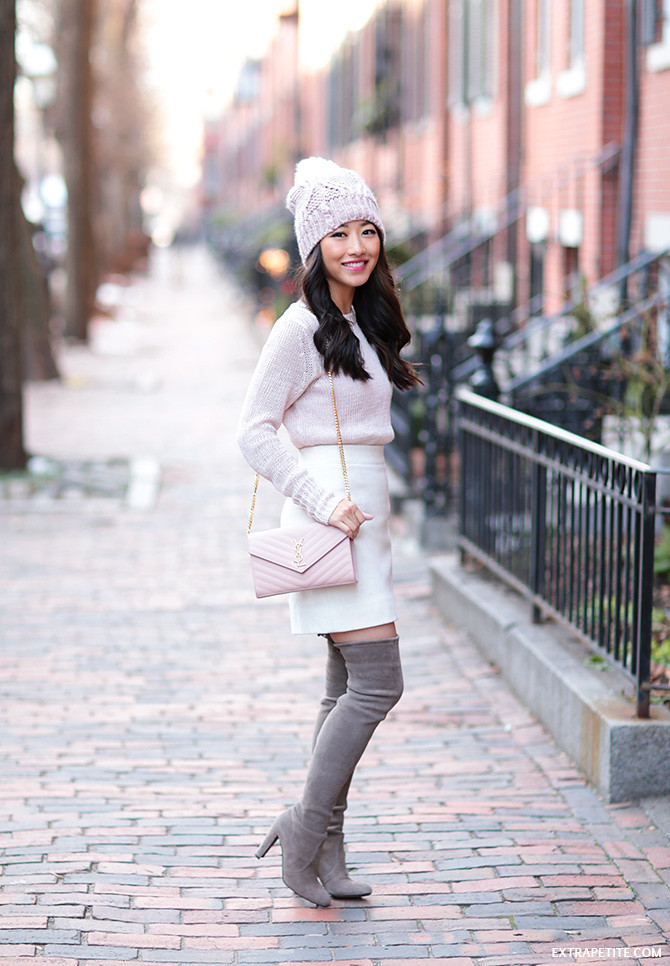 winter outfit cream pink gray_stuart weitzman highland boots