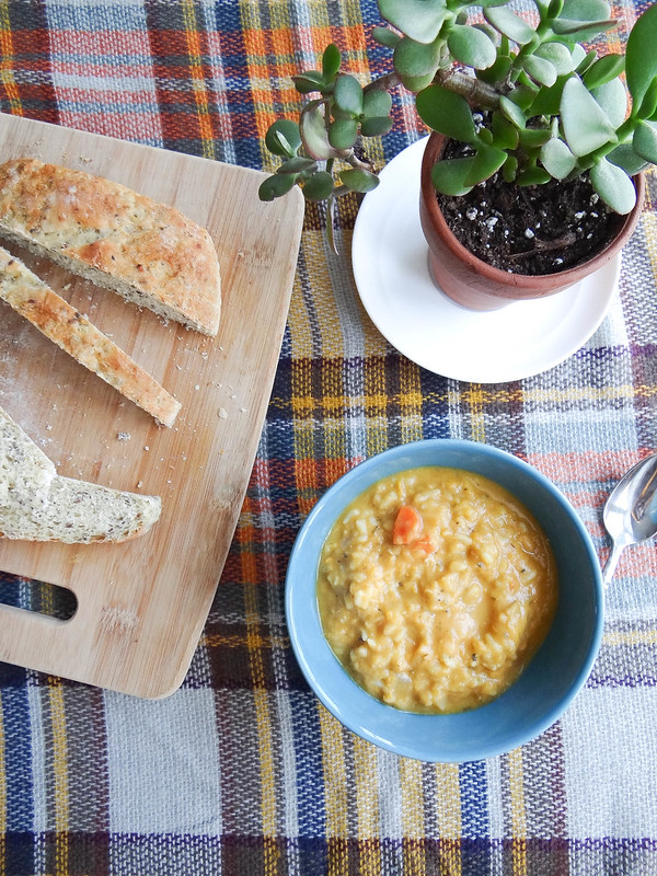 red lentil, rice + sweet potato soup