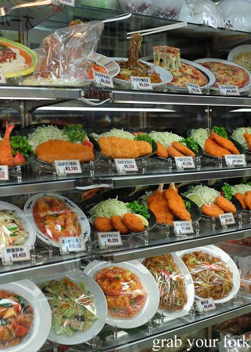 Plastic food displays in Kitchentown on Kappabashi Dori in Tokyo