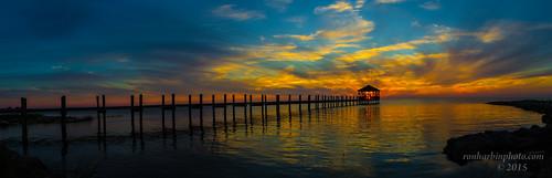 nc rodanthe carolina north sunset pier elitegalleryaoi bestcapturesaoi hurricanejoaquin panorama stich water ocean evening