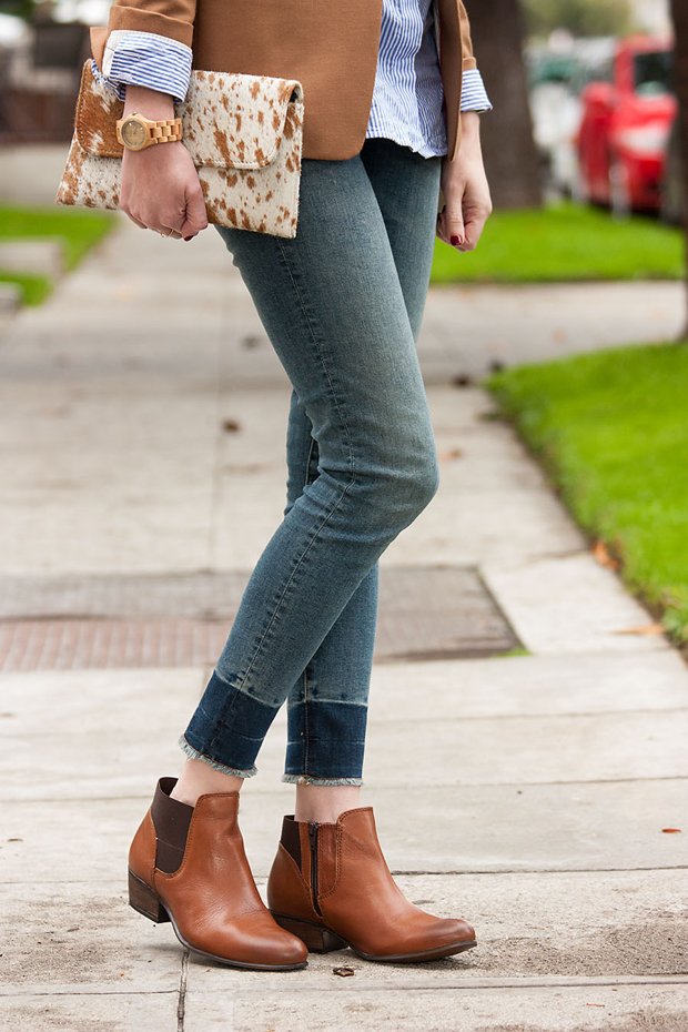 Skinny Ankle Jeans, Jackson and Hyde Clutch, Tan Booties