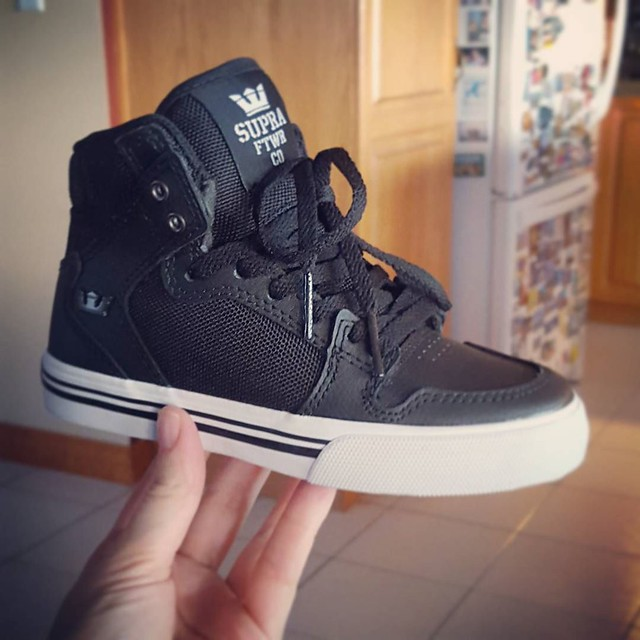 Matteo now has orthotics because he's inherited his father's very flat feet. It was recommended to me to get him skate shoes as they accommodate the orthotics better. I fell in love with these even thought they were ridiculously expensive. I don't know if