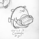 Sketch of Etym holding a casserole dish for this week's upcoming Spudart Comic. #sketch #drawing #mole #casserole #cartoon #comic #funny #asshole #food #pencilsketch #pencildrawing