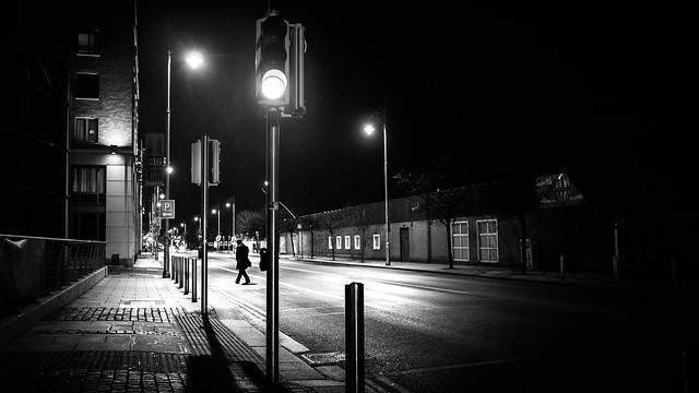 Green light - Dublin, Ireland - Black and white street photography
