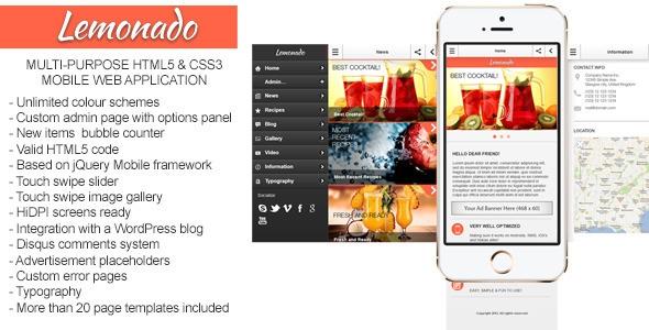 Lemonado v1.3.1 – Multi-purpose Mobile Web Application