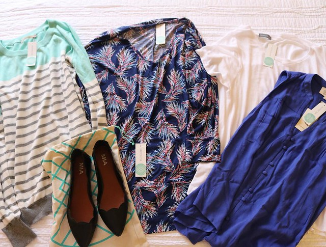 Super cute clothes in this month's @stitchfix box! #stitchfix #clothes #flats #blouses #tops #sweater