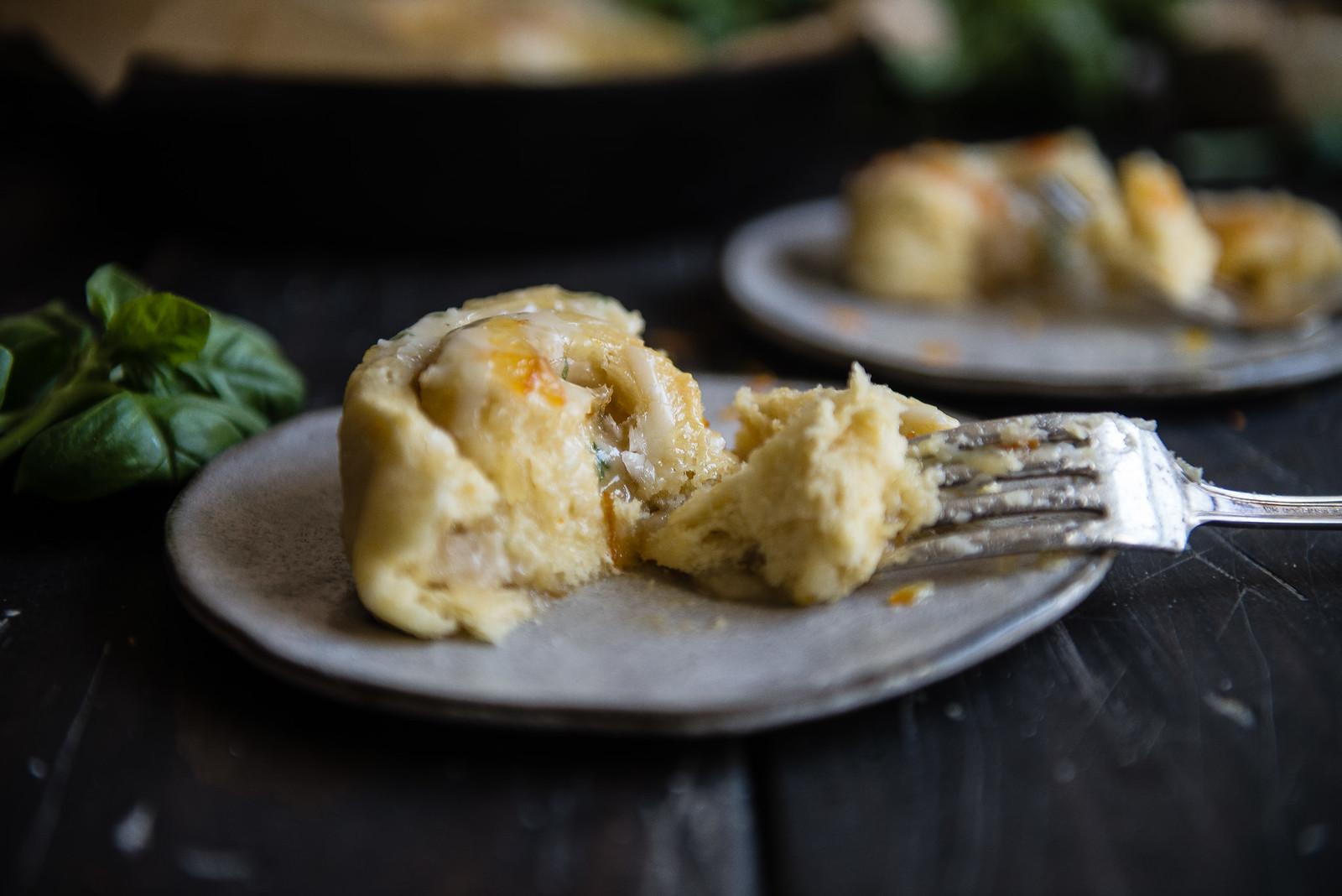 orange-almond sweet rolls with basil glaze | two red bowls