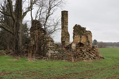 Ruins of a log cabin, circa 1812, at Old Welbourne