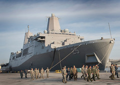 USS Somerset (LPD 25) sits pierside at Naval Base Coronado during the 2016 National Emergency Preparedness Liaison Officer (NEPLO) conference as EPLOs from various military services depart the ship following a tour. (U.S. Navy/MC1 Anibal Ramos)