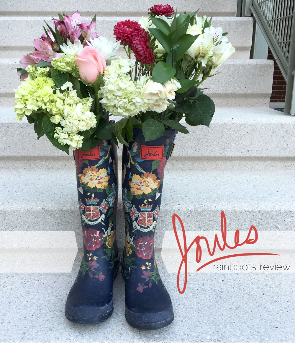 Joules navy floral rainboot review