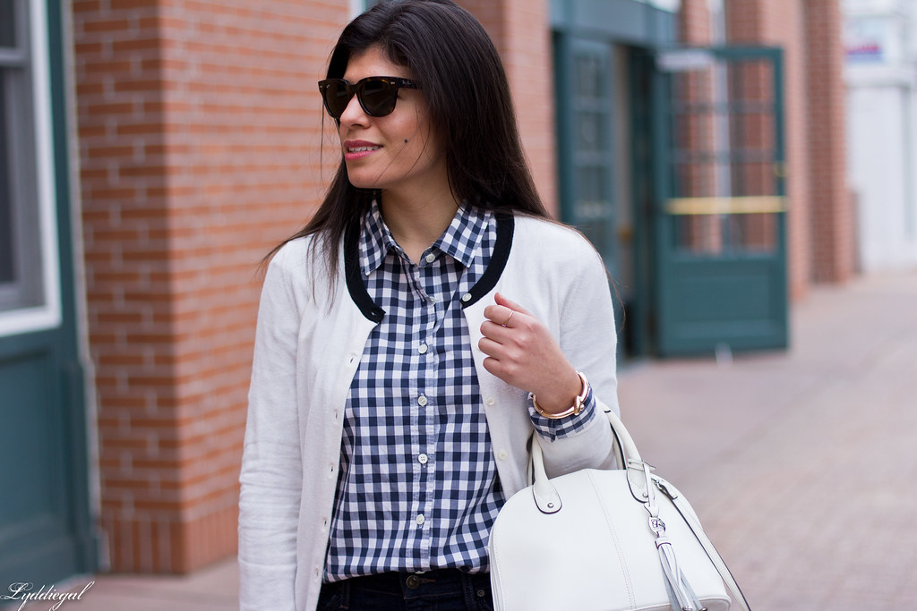gingham shirt, white cardigan, nude laceup flats-6.jpg