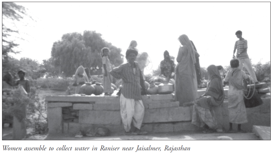 Women assemble to collect water in Raniser near Jaisalmer, Rajasthan
