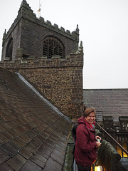 photo of Jo Sweeney on roof access to ringing room/tower
