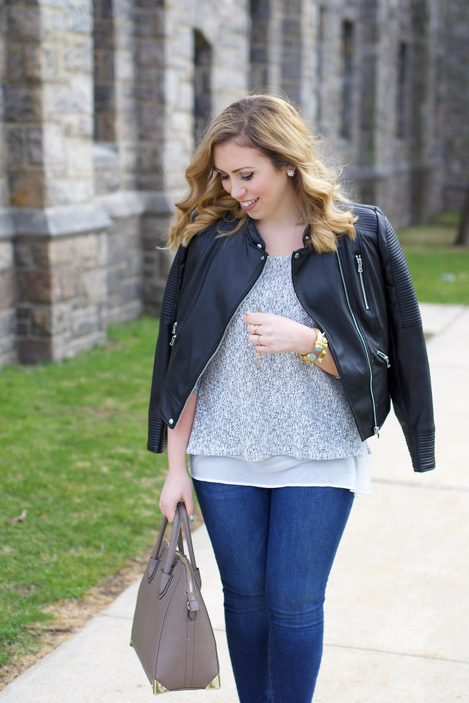 Casual Netural Spring Outfit | Zara Leather Jacket | Spring Gray Sweater | Joe's Skinny Jeans on Living After Midnite