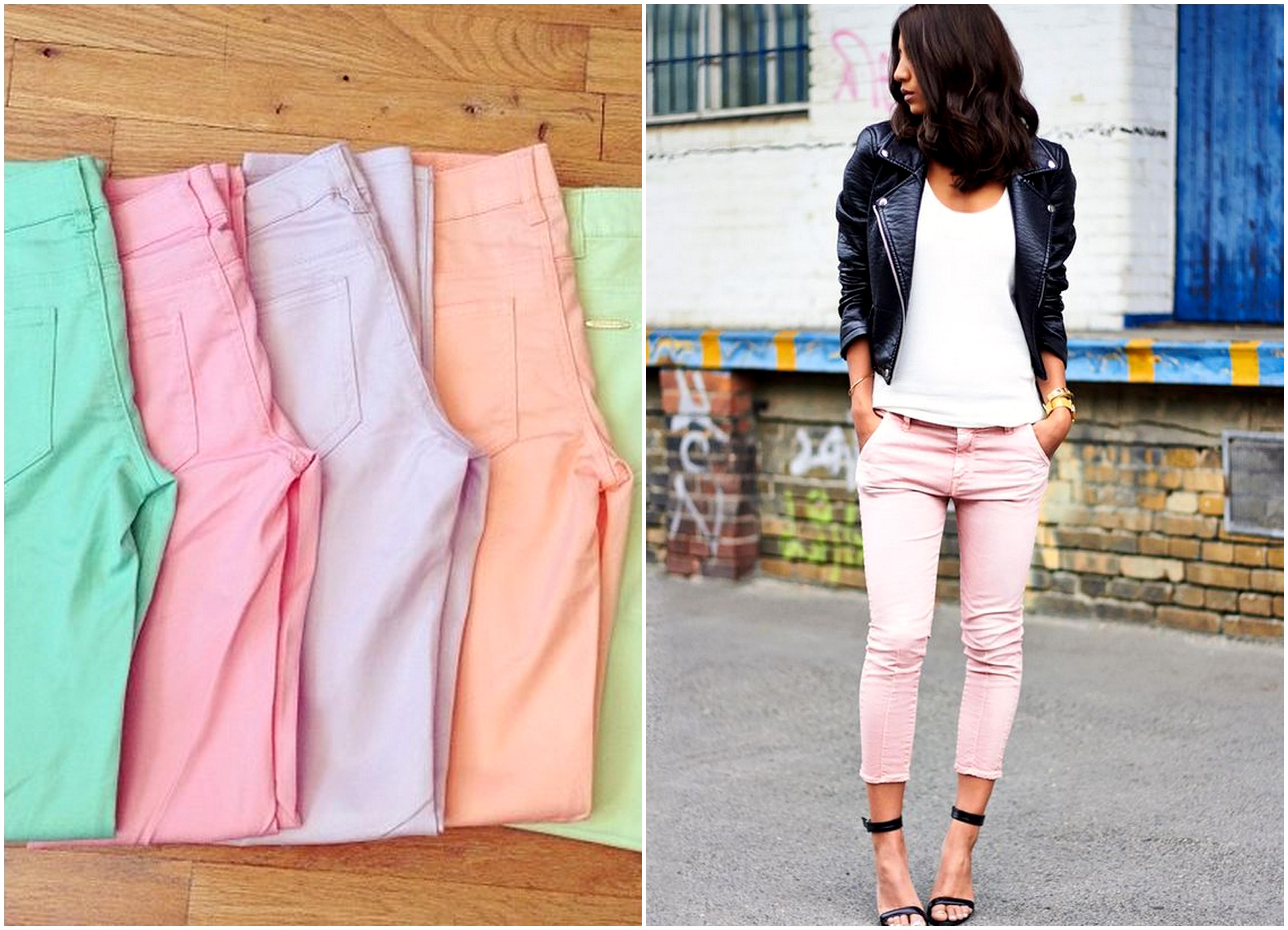 pastellin väriset housut