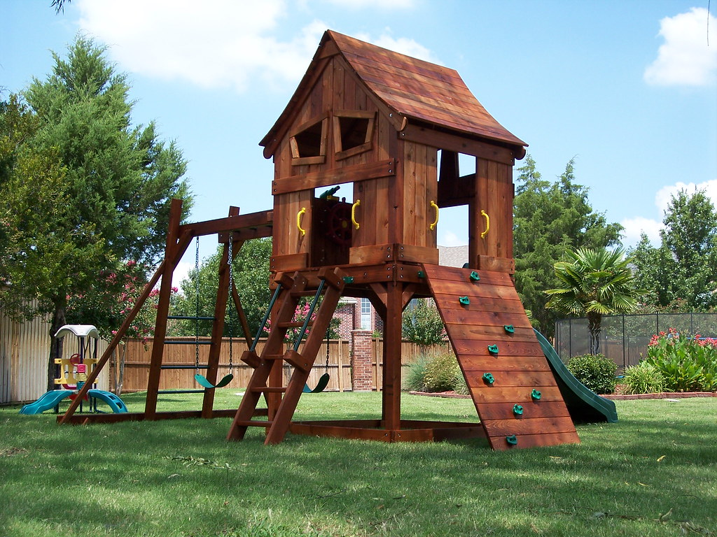 Fun Shack Swing Set Rock Wall Upper Cabin - Backyard Fun Factory's Most Interesting Flickr Photos Picssr