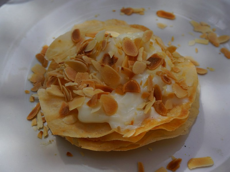 Milk Patilla - custard like creamy filling layered on flaky pastry with toasted almonds.