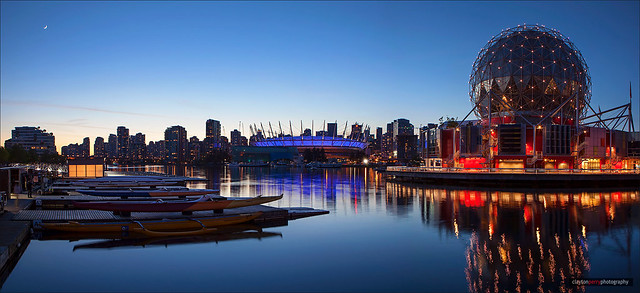A Crescent Moon Rises Over Vancouver
