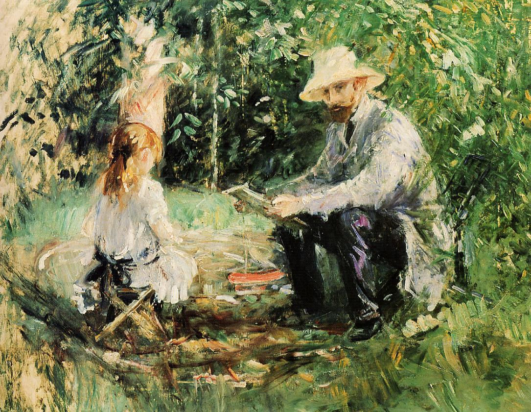Eugene Manet and His Daughter in the Garden by Berthe Morisot, 1883