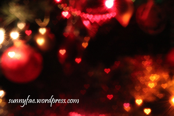 Christmas Tree Heart Shaped Bokeh