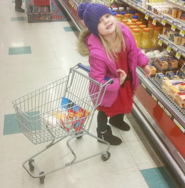 I'm not sure how it happens, but candy always ends up in my little helper's cart. ❤