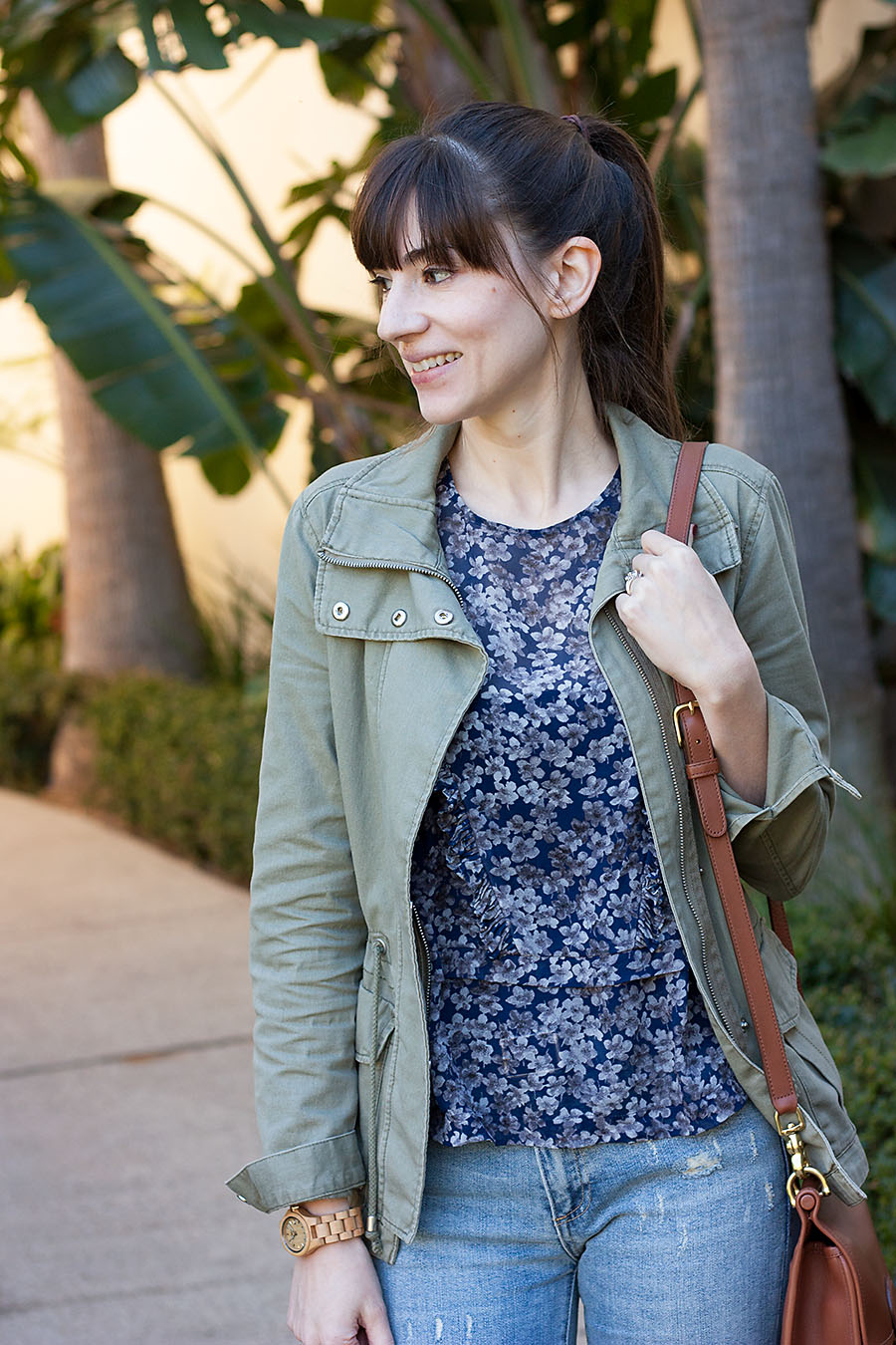 Green Cargo Jacket, Floral Top