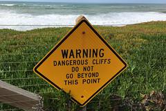 Pacifica Pier - Esplanade Ave warning sign