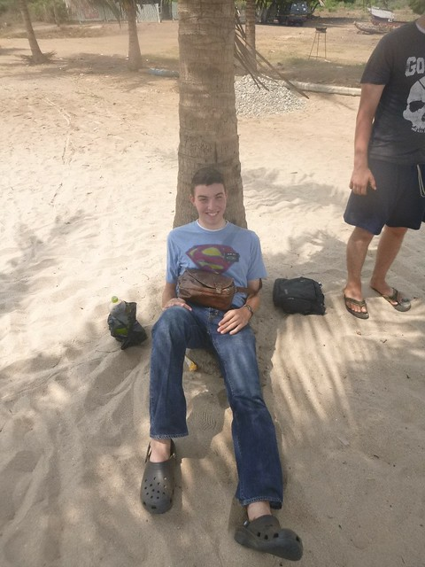 Elder Hall lying against a palm tree at the beach
