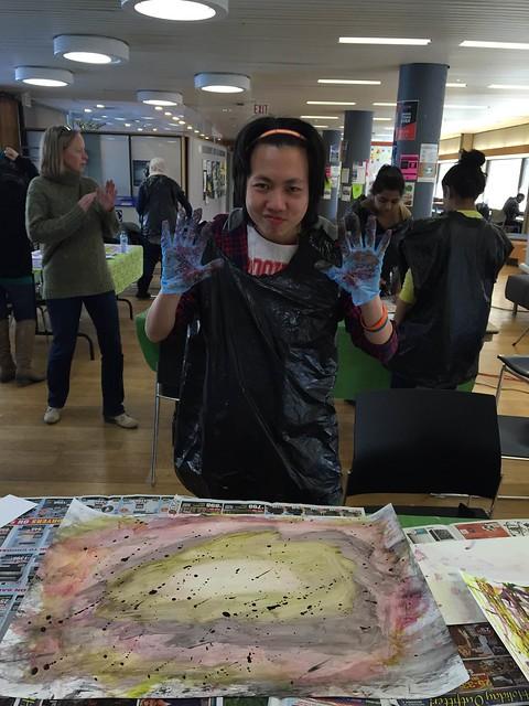 John Leung with his artwork