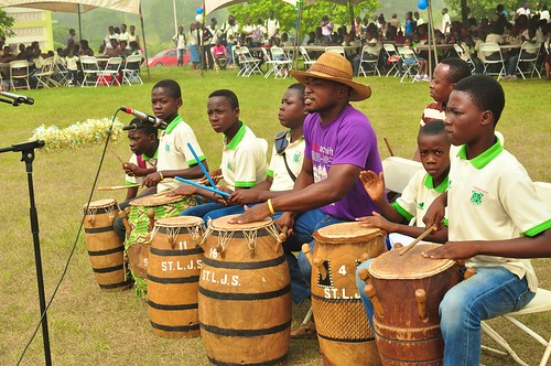 The drummers of the cultural troupe together with their instructor in a performance at the annual Family Day held at St Louis Jubilee School, Kumasi