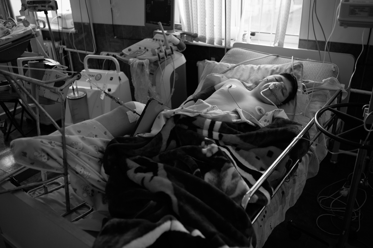 Gevorg Grigoryan, 12, at Stepanakert Hospital, who was wounded in a schoolyard in Martuni, Artsakh, as a result of shelling by Azerbaijan's armed forces on April 2. (©PAN Photo / Areg Balayan)