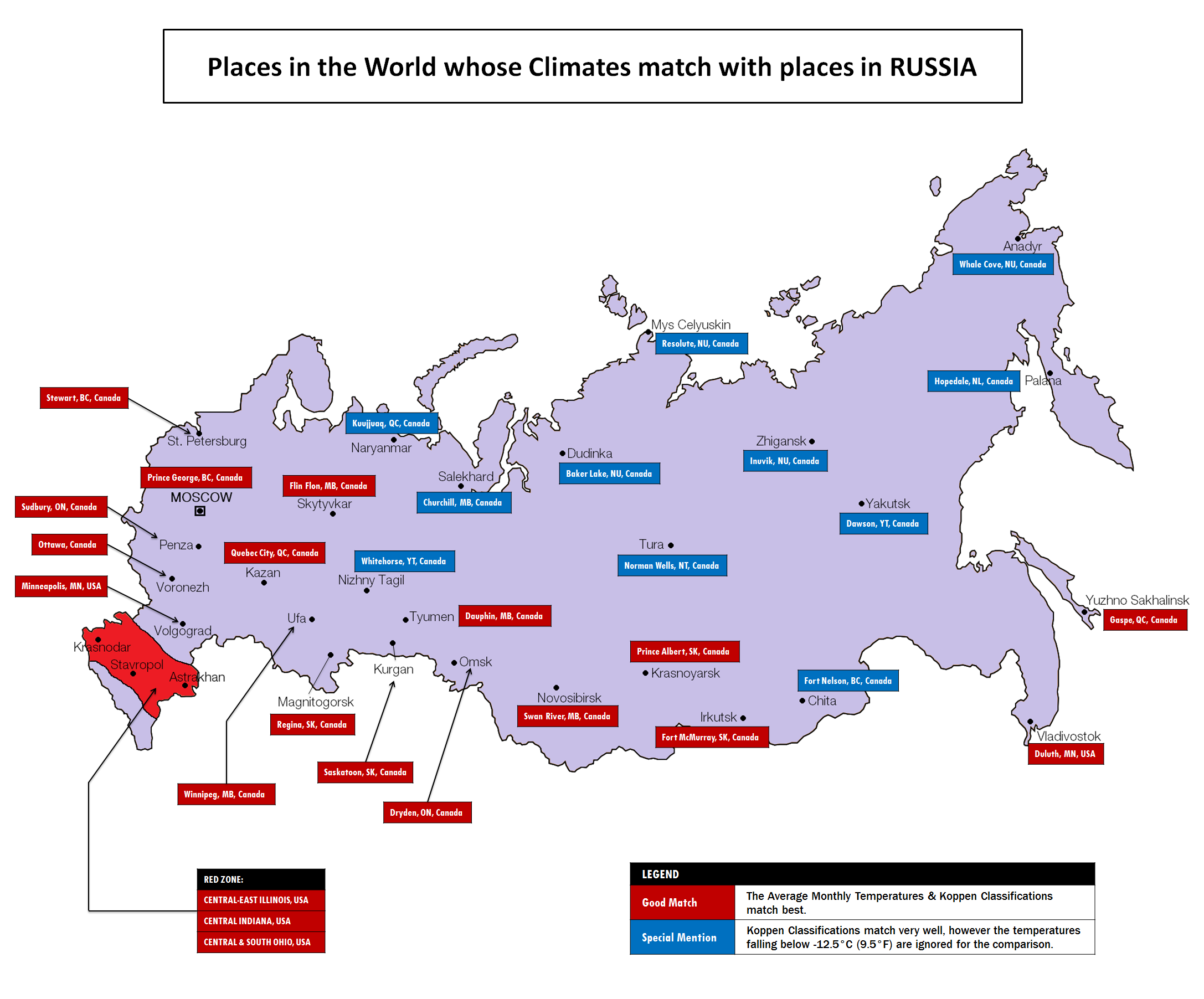 A map showing where Canadian cities would fit in Russia, climate ...