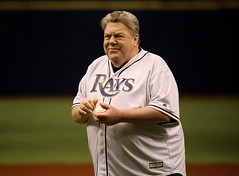 George Wendt, best known for the role of Norm Peterson on the TV show Cheers, throws out the first pitch on Rays' #OpeningDay.