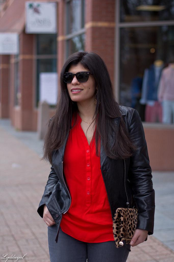 grey jeans, red blouse, black leather jacket, leopard clutch-6.jpg