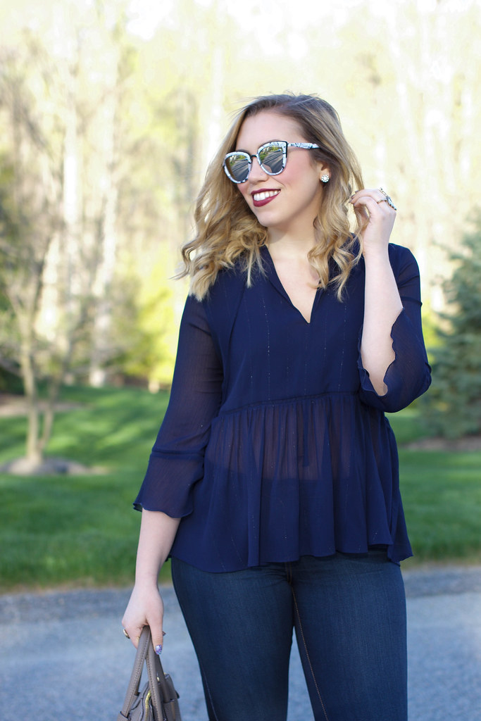 Extreme Flare Jeans | Free People Bell Bottoms | Bell Sleeve Peplum Zara Navy Blouse | Mirrored Sunglasses | Casual Style on Living After Midnite by Jackie Giardina