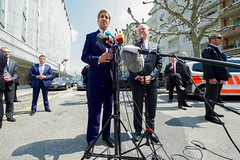 U.S. Secretary of State John Kerry, flanked by United Nations Special Envoy for Syria Staffan de Mistura, addresses reporters gathered outside the Hotel President Wilson in Geneva, Switzerland, on May 2, 2016, amid a series of meetings focused on the cessation of hostilities in Syria. [State Department photo/ Public Domain]