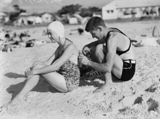 Bathers on the beach at Burleigh, Queensland, 1938