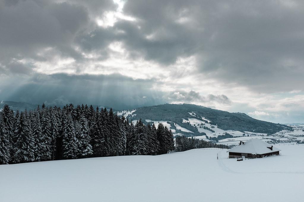 Snowshoeing Monts de Riaz, Gruyère, Switzerland, 2016.