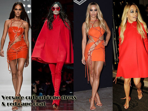 Rita Ora in a daring orange Versace cut out rope mini dress