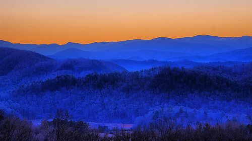 park winter foothills mountain west sunrise dawn tn tennessee scenic national parkway smoky